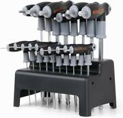 Sae And Metric T Handle Allen Wrench Ball End Hex Key Set W/storage Stand Long Arm