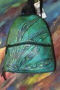 Leather Backpack Purse Handpainted One Of A Kind Purse Tignanello
