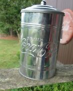 Coca-cola Large Galvanized Canister Cookie Jar - Brand New