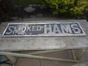 Vintage Antique Smoked Hams Advertising Store Display Old Decor Restaurant Sign