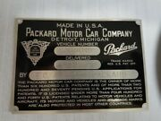 Serial Tag - Packard Motor Car Co With Delivery Information No Patents