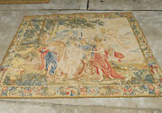 5and039 X 6and039 Vintage Aubusson Religious Tapestry Cherubs Tree Wool Flat Weave Antique