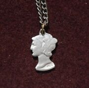 Cut-out Coin Jewelry Mercury Dime Or Winged Liberty Head No Rim On Chain 1936
