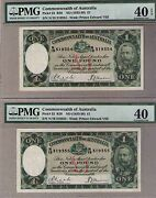 Australia 1933 R28 Pick22 Andpound1 Consecutive Pair Riddle/sheehan R28-pmg 40 Ef