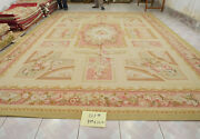 9.84and039x13.12and039 Vintage French Countryside Aubusson Rug Floral Hand-woven Deep Pink