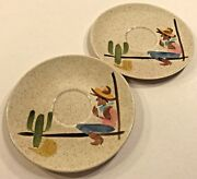 Red Wing Round Up 2 Saucers Cowboy Cactus Hand Painted Made Usa 6 5/8 Vintage