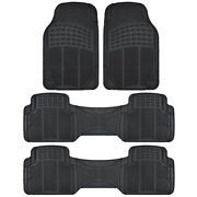 Heavy Duty Rubber Car Floor Mats 3 Row Coverage For Dodge Journey - Black