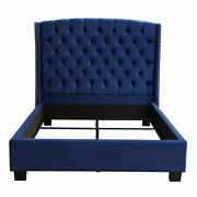 Majestic Eastern King Tufted Bed In Velvet With Nail Head Wing Accents By Di...