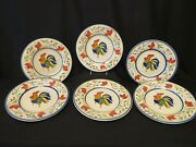 Set Of 6 Hand Painted Tabletops Gallery Luna Rooster Ceramic 11 Dinner Plates