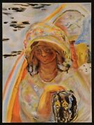 Original Vintage French Color Lithograph Girl With Dog By Pierre Bonnard 1939