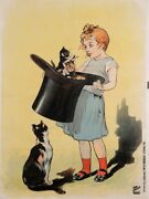 Original Vintage French Children And Cats Before Letters Poster By Oge 1917