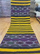 Primitive Antique 1930-1940s Wool Pile 3and03910andtimes10and0394 Saffron Dye Runner Rug