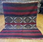 Primitive Antique 1930-1940s Wool Pile 3and0396andtimes4and0395 Embroidered Panels Folk-art