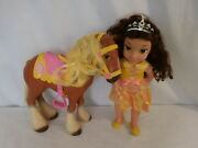 Disney Beauty And The Beast Belle And Philippe Horse Toddler Doll Set Rare