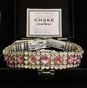 New Luxury Douglas Cloutier Xl Pink Crystal And Leather Dog Collar
