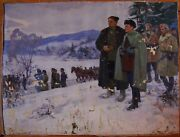 Russian Ukrainian Soviet Oil Painting Military Soldier Army Ww2 Guerrilla Winter