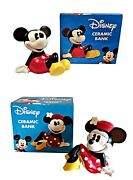 New Disney Mickey And Minnie Mouse - Set Of 2 - Ceramic Bank By Enesco Retired Mib