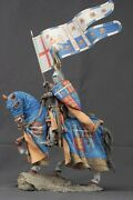 Tin Toy Soldiers Elite Painted 90 Mm Medieval Knight With Flag On Horseback