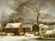 George Durrie - Winter Scene In New Haven - Canvas Or Print Wall Art