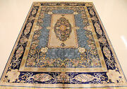 5.5and039x8and039 Stunning Hand Knotted Silk Persian Rug Living Room Decor Navy Blue Brown