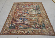 6.3and039 X 5.3and039 Antique Dancing Party Scene Aubusson Busy Tapestry Palace Hand Woven