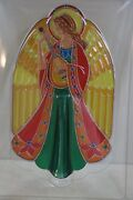 1979 New Old Stock Hallmark Angel Christmas Tree Topper Stained Glass Acrylic