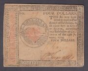 Us 4 Continental Currency Note 01/14/1779 Fr Cc 90 Vf-xf