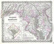 Map Antique 1855 Colton Delaware Maryland Usa Large Replica Canvas Art Print