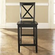 X-back Bar Stool In Vintage Mahogany Finish With 24 Inch Seat Height. Set Of...