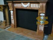 Unique Fireplace Mantel - Hand Carved Marble With Floral Design -inlaid Marble