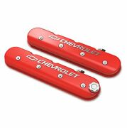 Holley 241-404 Red Tall Valve Cover W/ Bowtie/chevy Logo For Ls1/ls2/ls3/ls6/ls7