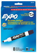 Expo Low Odor Non-toxic Dry Erase Marker Chisel Tip Assorted Color Pack Of 8