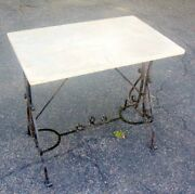 Antique Wrought Iron Marble Top Table French Pastry Garden Villa Chic