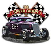 1933 Speed Coupe Car Racing Vintage Classic Automobile Hot Rod Metal Sign Lgb147