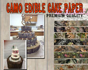 Camouflage Cake Topper Edible Image Frosting Sheet Icing Paper Strips Camp Wraps