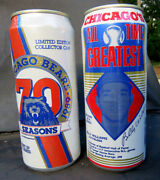 2 - 16 Oz Old Style Beer Cans Chicago Bears 70 Seasons And Cubs Billy Williams