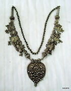 Vintage Antique Old Silver Necklace Chain Pendant Tribal Jewellery India