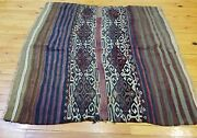 Beautiful 1900-1939s Antique Tribal Camel Bag Embroidered Panels Rug 3'9×4'