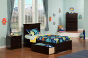 Madison Twin Platform Bed With Flat Panel Foot Board And 2 Urban Bed Drawers ...