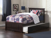 Mission Twin Platform Bed With Matching Foot Board With Twin Size Urban Trund...