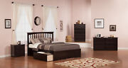 Mission Queen Platform Bed With Flat Panel Foot Board And 2 Urban Bed Drawers...