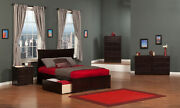 Metro Full Platform Bed With Flat Panel Foot Board And 2 Urban Bed Drawers In...