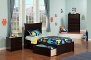 Metro Twin Xl Platform Bed With Flat Panel Foot Board And 2 Urban Bed Drawers...