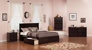 Madison Queen Platform Bed With Flat Panel Foot Board And 2 Urban Bed Drawers...