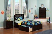 Richmond Twin Xl Platform Bed With Flat Panel Foot Board And 2 Urban Bed Draw...