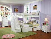 Columbia Staircase Bunk Bed Full Over Full With Flat Panel Bed Drawers