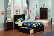 Madison Twin Xl Platform Bed With Flat Panel Foot Board And 2 Urban Bed Drawe...
