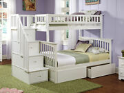 Columbia Staircase Bunk Bed Twin Over Full With Flat Panel Bed Drawers