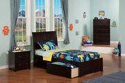 Portland Twin Xl Platform Bed With Flat Panel Foot Board And 2 Urban Bed Draw...
