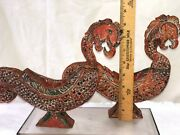 Antique Oriental Chinese Rooster Dragon Fish Hand Carved Wooden Figures